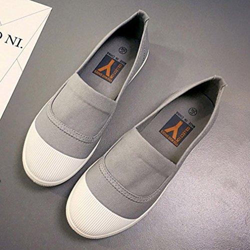 Plimsoles Sur Les Toile Adulte Chaussures Glisser En La Espadrille Plates Gris Chaussures Vogue Ballerines qwnZaaBUER