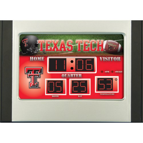Scoreboard Team Collegiate Sports (Texas Tech Red Raiders Scoreboard Desk Clock)
