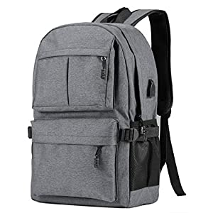 HOENYJOY Unisex Men Women Light Weight Business Laptop Backpack 15.6 Inch College Backpack with USB Charging Port (32cm13cm46cm, Grey)