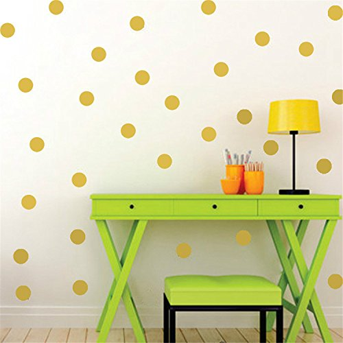 Yanqiao Gold Wall Decal Dots Easy Peel Amp Stick And Safe On