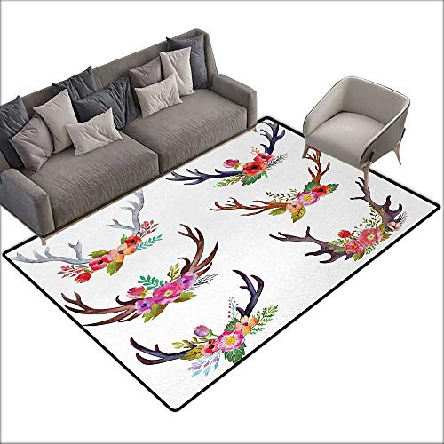 Antlers Bedroom Carpet Deer Horns Bouquet Flowers Bloom Fun Springtime Garden Branches Work of Art Print for Various Areas W55 x L79 Inch Multicolor