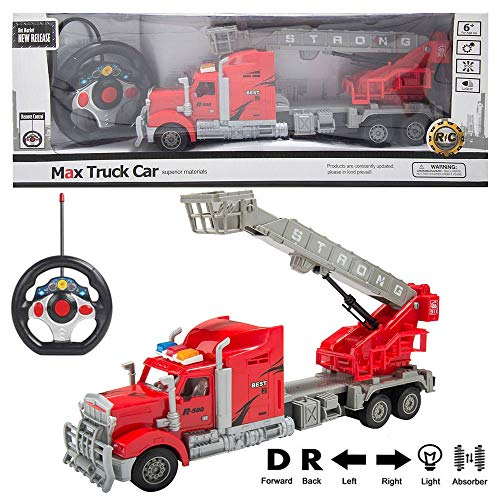 RC Truck 1:15 Scale Radio Remote Control Ultimate Rescue Fire Truck with Extendable Ladder, Toy Fire Truck with Lights and Sounds, Imaginative Play Toy Fire Truck for Kids ()