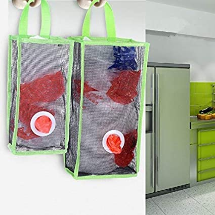 Bon Flee Set Of 2 Wall Mount Plastic Bags Holder Hanging Grocery Bag Container  Plastic Grocery Bag