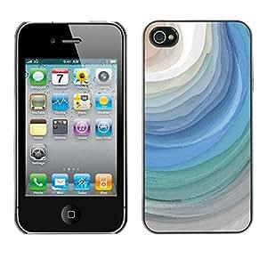 Caucho caso de Shell duro de la cubierta de accesorios de protección BY RAYDREAMMM - Apple iPhone 4 / 4S - Blue Waves Grey Watercolor Art