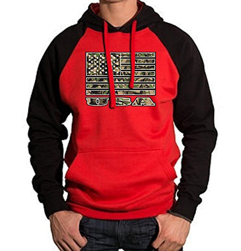 Army Camo USA Flag Men's Red/Black Raglan Baseball Hoodie Sweater Large Black