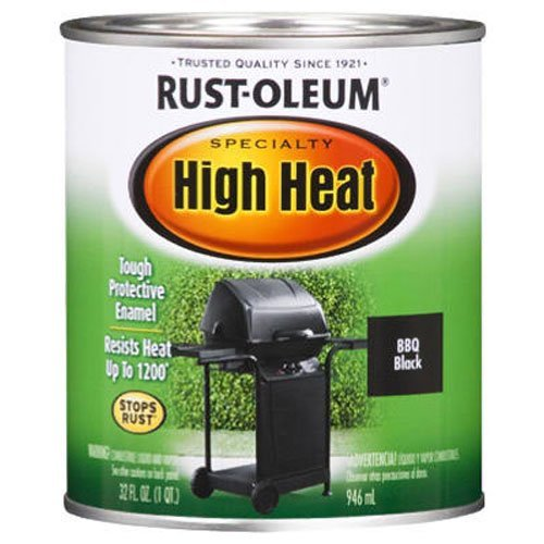 Rust-Oleum 7778502 Specialty High Heat Protective Enamel, Satin BBQ Black, 1-Quart