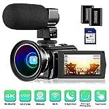 4K Camcorder Video Camera Rosdeca Ultra HD 48.0MP WiFi Digital Camera IR Night Vision 3.0