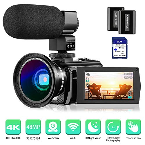 """4K Camcorder Video Camera Rosdeca Ultra HD 48.0MP WiFi Digital Camera IR Night Vision 3.0"""" IPS Touch Screen 16X Digital Zoom with External Microphone, Wide Angle Lens, 2 Batteries and Memory Card"""
