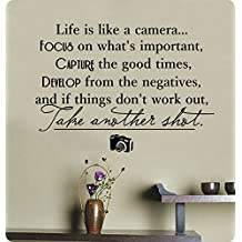 """32"""" Life Is Like a Camera Focus on What's Important Capture the Good Times Develop From the Negatives If Things Don't Work Out Take Another Shot Wall Decal Sticker Art Mural Home Décor Quote Lettering Motivation"""