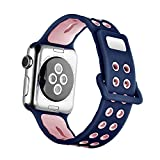 RuoRuoWu International Sport Band for Apple Watch 42mm , Soft Silicone Strap Replacement iWatch Bands for Apple Watch Sport, Series 2, Series 1, (S/M), Sea blue with light powder