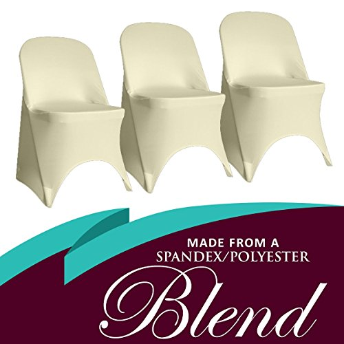 SPRINGROSE 100 Ecoluxe Ivory Spandex Stretch Folding Chair Covers | Sleek, Resilient Polyester & Elastic Spandex | for Wedding, Bridal Showers, Anniversary Party, Receptions, Celebrations, More by SPRINGROSE (Image #2)