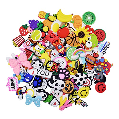 (XHAOYEAHX 100pcs Different Shape Shoes Charms Fits for Croc Clog Shoes & Jibbitz Wristband Bracelet Party Gifts)