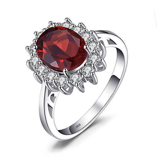 Sterling Regal Crown Silver - JewelryPalace Natural Gemstones Garnet Birthstone Halo Solitaire Engagement Rings For Women For Girls 925 Sterling Silver Ring Princess Diana William Kate Middleton Size 6