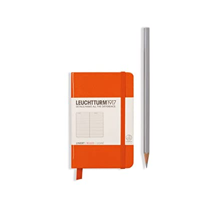 LEUCHTTURM1917 Hard Cover Mini 3x4 A7 Notebook Orange Ruled Lined