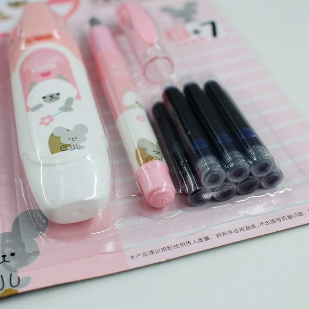 con 7 ricariche di inchiostro colore casuale Penna stilografica cancellabile con pennino grande cancelleria per la scuola