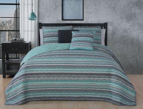 Avondale Manor Meridian 5-piece Quilt Set - Mint, King