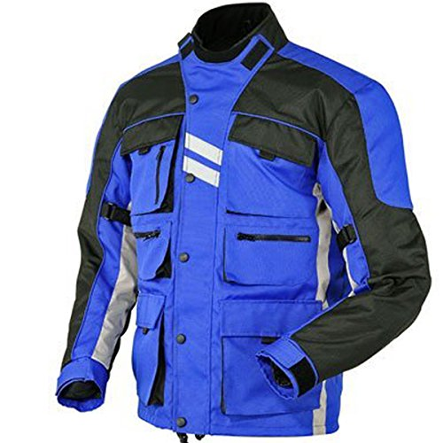 Juicy Trendz Motorcycle Motorbike Biker Cordura Waterproof Textile Jacket Blue Large - Motorcycle Reflective Cordura Textile Jacket
