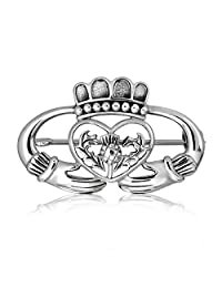 WithLoveSilver 925 Sterling Silver Celtic Claddagh Crownand Friendship And Heart Thistle Brooch