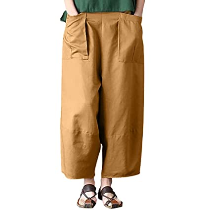 Amazon.com: Sunhusing Ladies Casual Cotton Linen Solid Color Large Pocket Loose Pants Trousers: Clothing