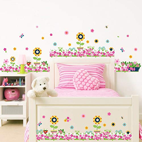 Potted Floral Wallpaper Border - ALXCHD Cartoon Sunflowers Potted Plants Wall Stickers Baseboard Skirting Line Wall Border Wallpaper Poster Decor Kids Room Nursery Art