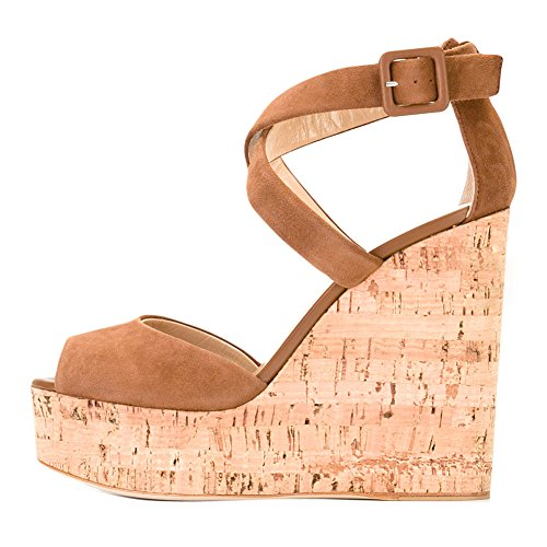 onlymaker Women`s Suede Peep Toe Platform Wedge Heel Sandals Crisscross Ankle Strap Heeled Summer Shoes Camel 9.5 M US