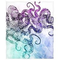 Goodbath Octopus Kraken Throw Blanket, Ocean Animals Sea Monster Soft Fleece Blanket for Traelling Sofa Couch Bed, 58 x 80 Inch