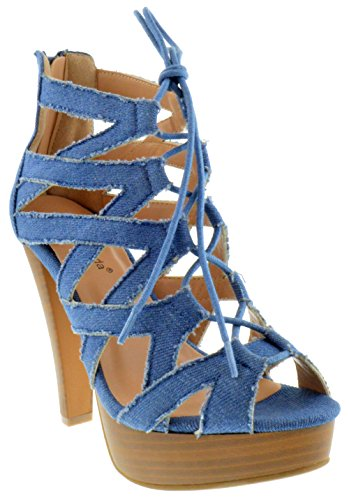 (Table 8 Peep Toe High Heel Lace up Strappy Pumps Denim 10)