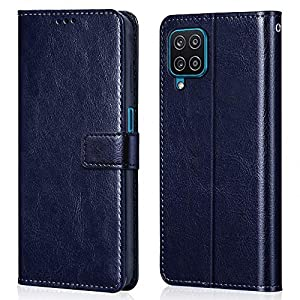 WOW Imagine Shock Proof Flip Case Back Cover for Samsung Galaxy A12 / M12 / F12 (Flexible | Leather Finish | Card…