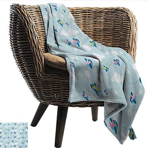 - EwaskyOnline Kids Knee Blanket Cartoon Style Sky with Airplanes and Clouds Swirls Scrapbook Design Pattern Sofa Warm Bed 60