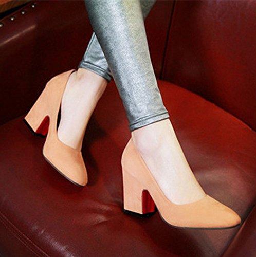 Slip Elegante Puntiagudo De Las Mujeres De Aisun En El Negocio De La Oficina Bombas Bloque De Tacones Altos Zapatos De Albaricoque