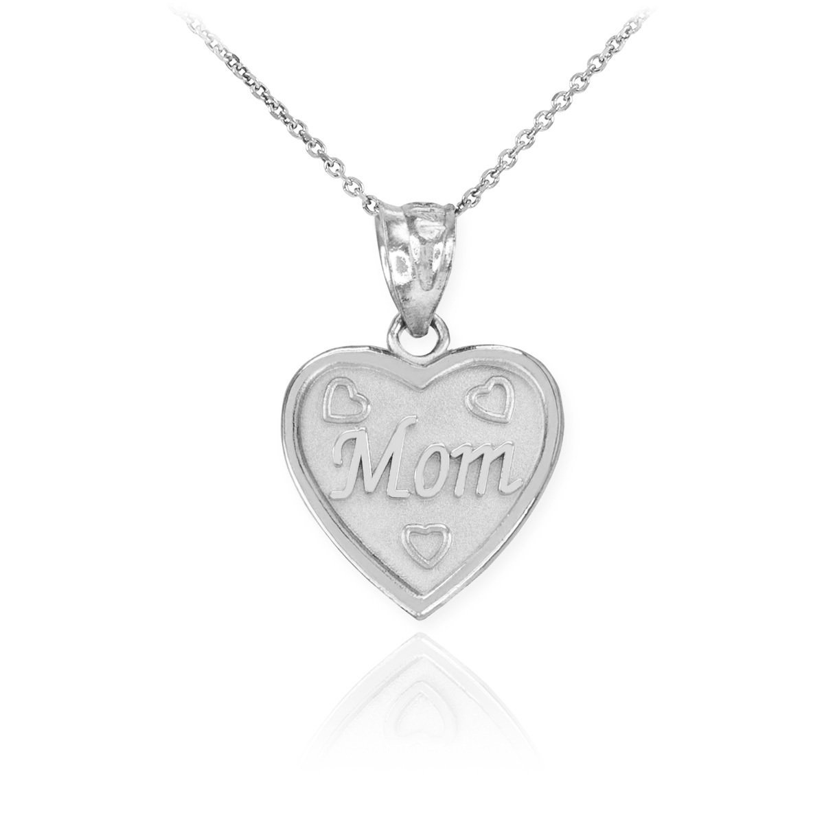 High Polish 925 Sterling Silver Mom Heart Necklace