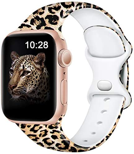 Easuny Leopard Bands Compatible for Apple Watch Band 40mm 38mm Womens Girls - Cute Fadeless Floral Soft Pattern Printed Silicone Replacement Wristband for iWatch SE & Series 6/5/4/3/2/1,Cheetah S/M