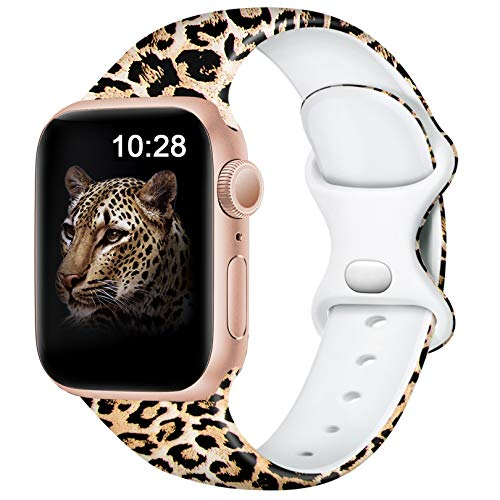 Easuny Compatible with Apple Watch 40mm 38mm 42mm 44mm Womens Girls - Cute Fadeless Floral Soft Pattern Printed Silicone Replacement Wristband for iWatch SE & Series 6/5/4/3/2/1 Men