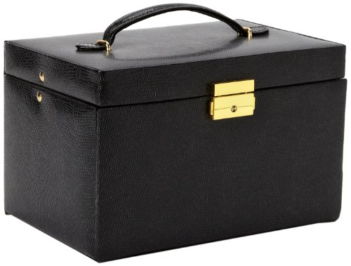 Paylak TS382BLK Genuine Black Leather Large Jewelry Box with Travel Case Tech Swiss ()