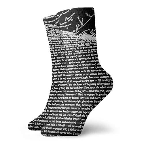 Klnsha7 The Raven by Edgar Allan Poe Men Women Novelty Funny Crazy Crew Sock Printed Sport Athletic Socks 30cm Long Personalized Gift Socks