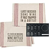 Wine Lovers Dish Towel and Wine Charm Set | Bundle Includes Two Towels and 8-Piece Chalkboard Wine Charm Set
