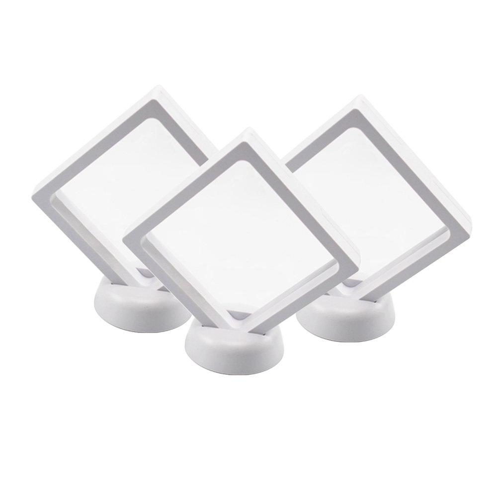 BCLP 9/cm pour Animal Domestique Membrane Blanc Flottant Rhombus Cadre Support pour /Écran avec Supports pour Pi/èce de Monnaie Bijoux M/édailles /Écran 3D/ /Lot DE 3 Blanc