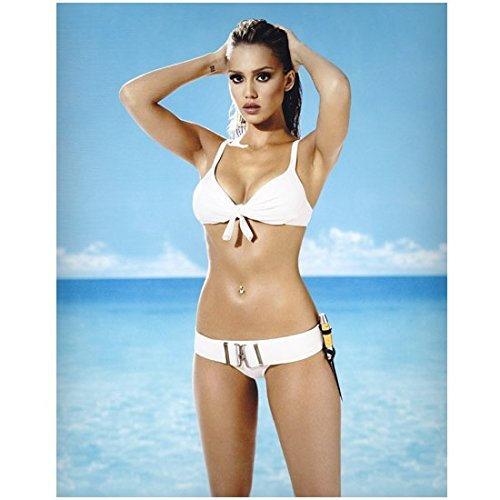 Jessica Alba Posing on Beach in White Bathing Suit Holding Hair Back 8 x 10 Photo