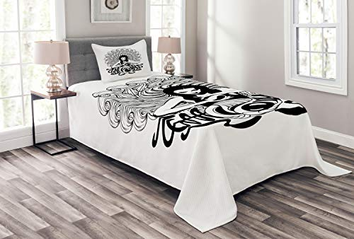 Lunarable Art Nouveau Bedspread, Witch Crystal Ball Magic Fortune Themed Tattoo Inspired Mystic Pattern, Decorative Quilted 2 Piece Coverlet Set with Pillow Sham, Charcoal Grey White ()