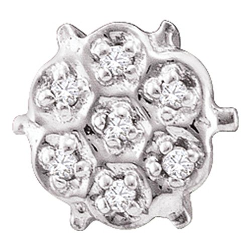 10kt White Gold Womens Round Prong-set Diamond Cluster Stud Earrings 1/20 Cttw Round Prong Set Cluster Earrings
