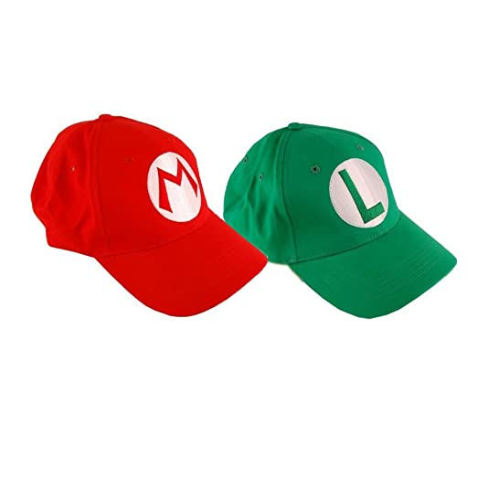 c917172a42bc4 Amazon.com  2PCS Super Mario Bros Baseball Cap Mario Luigi Cosplay ...