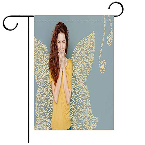 BEICICI Garden Flag Double Sided Decorative Flags Emotional Woman Laughing While Wearing a Costume of a Butterfly Best for Party Yard and Home Outdoor Decor ()