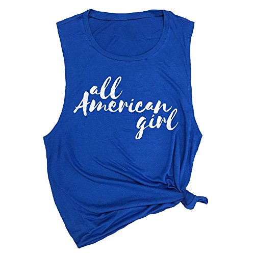Spunky Pineapple All American Girl 4th of July Muscle Tee Shirt