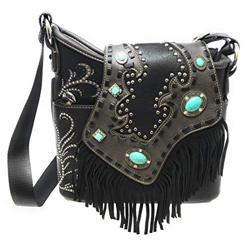 Montana West Ladies Cossbody Purse Turquoise Rhinestones Leather Fringe Black