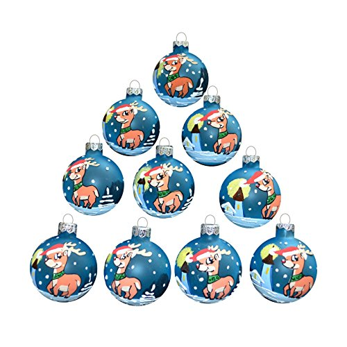 Disney Christmas Balls - Set of 10 pcs Christmas balls 2,3'' Vintage Ornaments for Decoration Xmas Tree, Holiday Party, with hooks, Glass, Hand Blowed and Painted