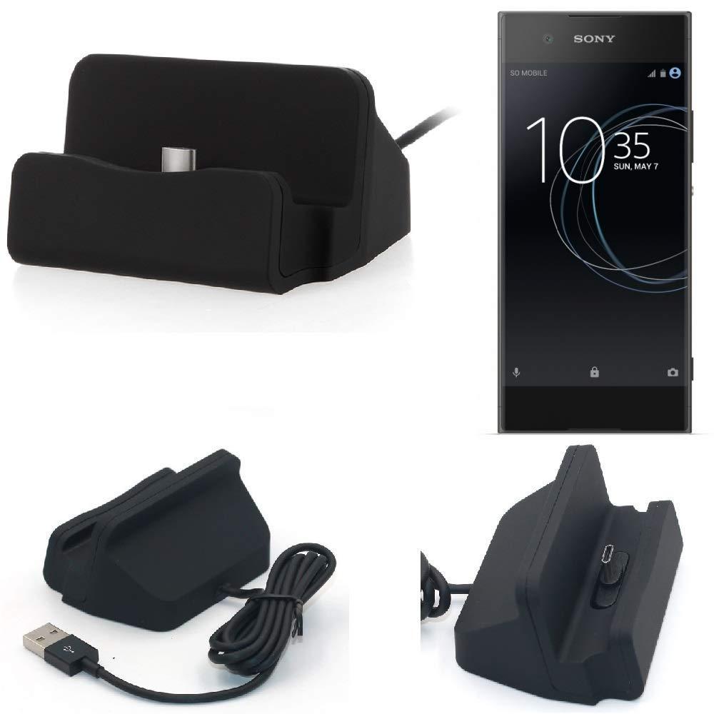 K-S-Trade Dockinsgstation f/ür Sony Xperia XA1 Ladestation Dock Ladeger/ät Docking Station inkl USB Typ C Kabel schwarz