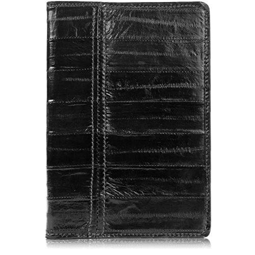 Genuine Eel Skin Leather Notebook Padfolio (Small, Black) by Yoder Leather Company