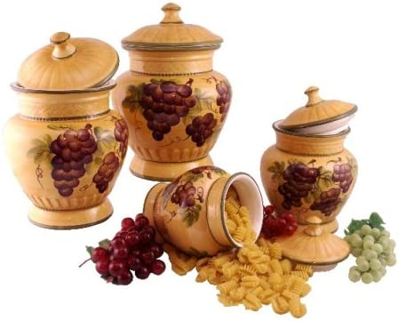 Sonoma Grape Hand-Painted Ceramic Kitchen Salt & Pepper Shakers with Napkin Holder Set, 82528-1 by ACK