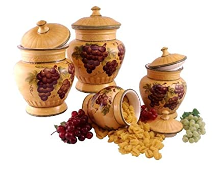Bon 4pc Ceramic Canister Set Tuscany Grape