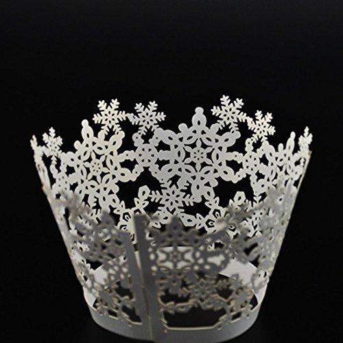 DUFUSTORE 50x Pearly Paper Snowflake Design Vine Lace